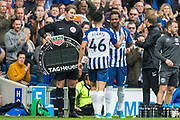 Gaetan Bong (Brighton) coming on for Steve Alzate (Brighton) during the Premier League match between Brighton and Hove Albion and Tottenham Hotspur at the American Express Community Stadium, Brighton and Hove, England on 5 October 2019.