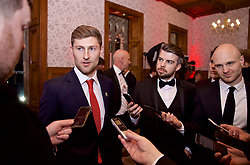 CARDIFF, WALES - Thursday, March 21, 2019: Wales Ben Davies speaks to the media before the Football Association of Wales Awards 2019 at the Hensol Castle. (Pic by David Rawcliffe/Propaganda)