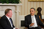 MAR1411: Danish Prime Minister Lars Løkke Rasmussen meets with American President Barack Obama at the White House in Washington DC on March 14, 2011. Photo by Kris Connor