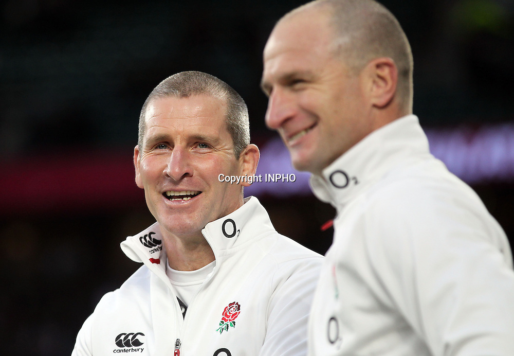 RBS 6 Nations Championship, Twickenham Stadium, London 14/2/2015<br /> England vs Italy <br /> England head coach Stuart Lancaster celebrates winning with skills coach Mike Catt<br /> Mandatory Credit &copy;INPHO/Andrew Fosker