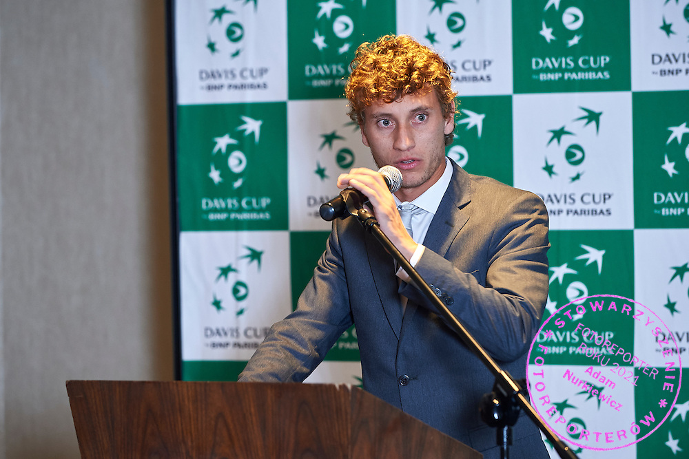 GDANSK, POLAND - 2016 MARCH 02: Rookie Renzo Olivo of Argentina speaks while official dinner at Sheraton Hotel two days before the Davies Cup / World Group 1st round tennis match between Poland and Argentina at Ergo Arena on March 2, 2016 in Gdansk, Poland<br /> <br /> Picture also available in RAW (NEF) or TIFF format on special request.<br /> <br /> Any editorial, commercial or promotional use requires written permission.<br /> <br /> Mandatory credit:<br /> Photo by &copy; Adam Nurkiewicz / Mediasport