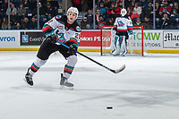 KELOWNA, BC - JANUARY 3: Jake Lee #21 of the Kelowna Rockets passes the puck during first period against the Victoria Royals  at Prospera Place on January 3, 2020 in Kelowna, Canada. (Photo by Marissa Baecker/Shoot the Breeze)