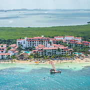 Aerial view of the Royal Cancun hotel. Cancun, Quintana Roo. Mexico.