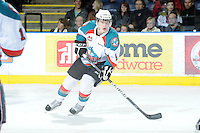 KELOWNA, CANADA - FEBRUARY 18: Zach Franko #9 of the Kelowna Rockets skateson the ice against the Red Deer Rebels at the Kelowna Rockets on February 18, 2012 at Prospera Place in Kelowna, British Columbia, Canada (Photo by Marissa Baecker/Shoot the Breeze) *** Local Caption ***