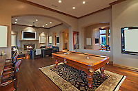 Living room with billiard table