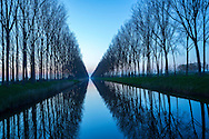 View along tree-lined canal at dusk, silhouettes and reflections