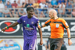August 27, 2017 - Gent, BELGIUM - Anderlecht's Kara Mbodji and referee Sebastien Delferiere pictured during the Jupiler Pro League match between KAA Gent and RSC Anderlecht, in Gent, Sunday 27 August 2017, on the fifth day of the Jupiler Pro League, the Belgian soccer championship season 2017-2018. BELGA PHOTO BRUNO FAHY (Credit Image: © Bruno Fahy/Belga via ZUMA Press)