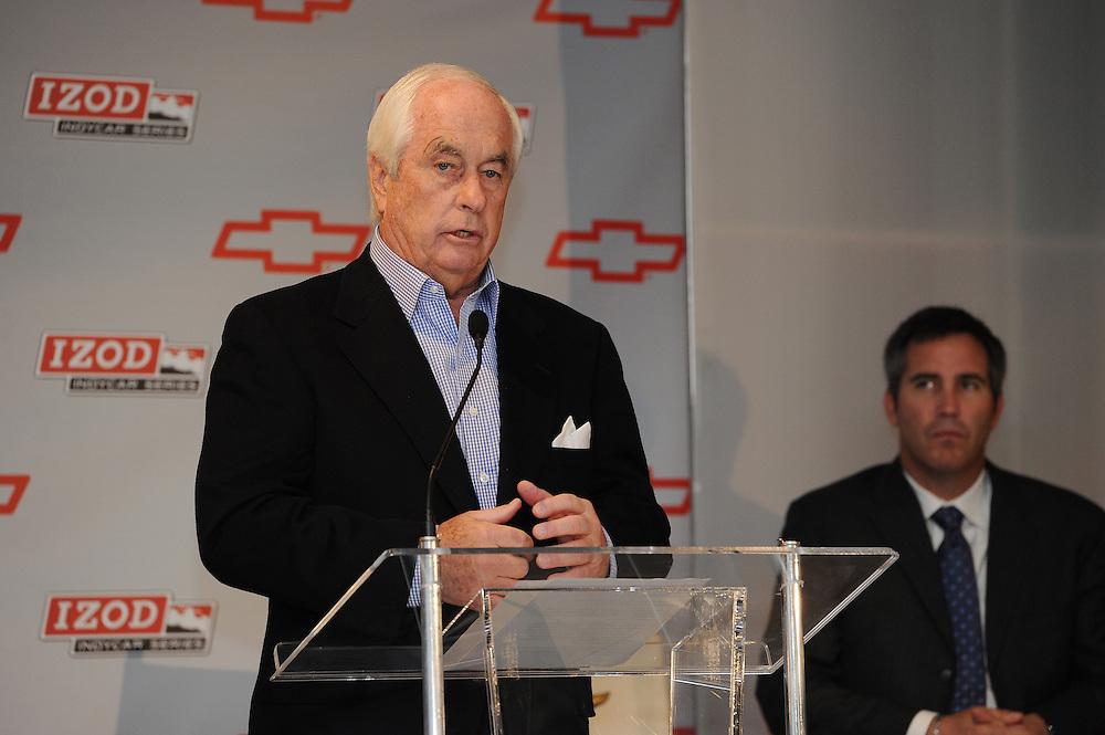 Chevrolet Indy Car engine announcement.  Roger Penske, Randy Bernard