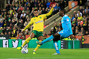 Norwich City midfielder Josh Murphy (11) turns away from Burton Albion striker Marvin Sordell (17) during the EFL Sky Bet Championship match between Norwich City and Burton Albion at Carrow Road, Norwich, England on 12 September 2017. Photo by Richard Holmes.