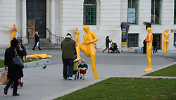 © Licensed to London News Pictures. 09/01/2014. London, UK. Sculptures in General Gordon Square, Woolwich highlighting that not all ailments need a visit to A & E at hospital. Photo credit : Mike King/LNP