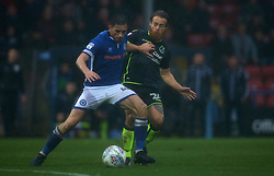 Stuart Sinclair of Bristol Rovers tackles Ian Henderson of Rochdale - Mandatory by-line: Robbie Stephenson/JMP - 21/10/2017 - FOOTBALL - Crown Oil Arena - Rochdale, England - Rochdale v Bristol Rovers - Sky Bet League One