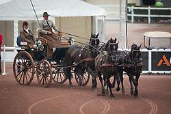 Gert Schrijvers, (BEL), El Fiero, Giganta A, Onyx, Replay, Victor K - Driving dressage day 2 - Alltech FEI World Equestrian Games™ 2014 - Normandy, France.<br /> © Hippo Foto Team - Dirk Caremans<br /> 05/09/14