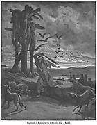 Rizpah's Kindness Unto the Dead 2 Samuel 21:9-10 From the book 'Bible Gallery' Illustrated by Gustave Dore with Memoir of Dore and Descriptive Letter-press by Talbot W. Chambers D.D. Published by Cassell & Company Limited in London and simultaneously by Mame in Tours, France in 1866