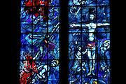 Central window of the stained glass windows created by Chagall with glassworker Charles Marq in 1974 depicting the history of Abraham and the last moments of the Earthly life of Christ (the Passion and the Resurrection), axial chapel, Notre-Dame de Reims (Our Lady of Rheims), pictured on February 15, 2009, 13th - 15th century, Roman Catholic Cathedral where the kings of France were crowned, Reims, Champagne-Ardenne, France.
