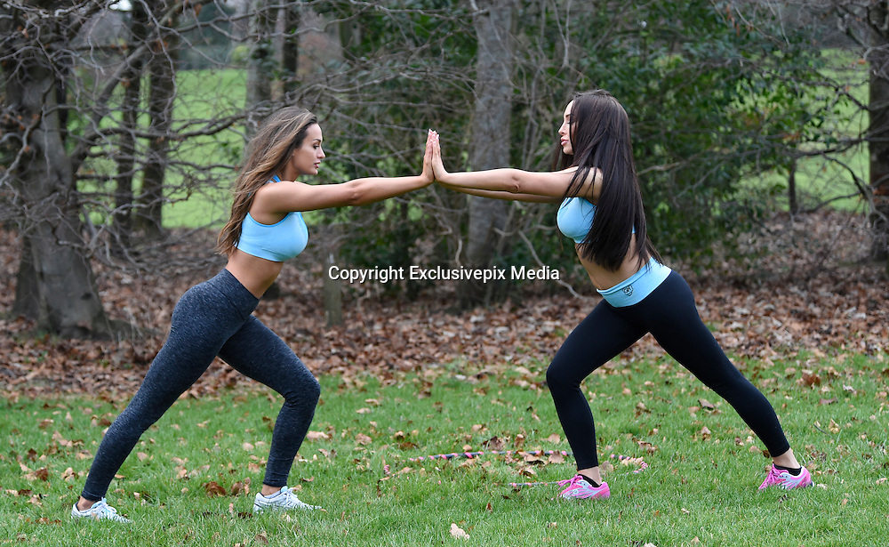 EXCLUSIVE<br /> Ex on the beach stars Laura Alisha Summers with Ali drew working out <br /> in PT session <br /> &copy;Exclusivepix Media