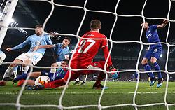 Chelsea's Cesar Azpilicueta (second left) shoots towards goal but is saved by Malmo goalkeeper Johan Dahlin (centre)