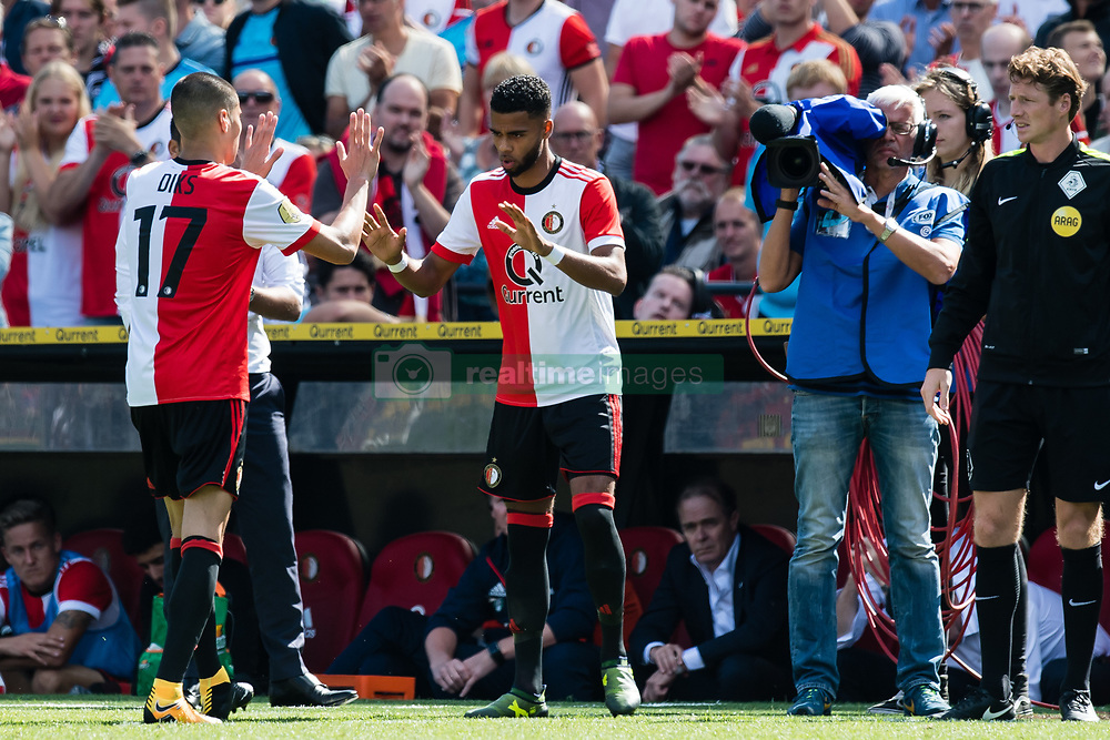 (L-R) ,Kevin Diks of Feyenoord Jeremiah St. Juste of Feyenoord during the Dutch Eredivisie match between Feyenoord Rotterdam and FC Twente at the Kuip on August 13, 2017 in Rotterdam, The Netherlands