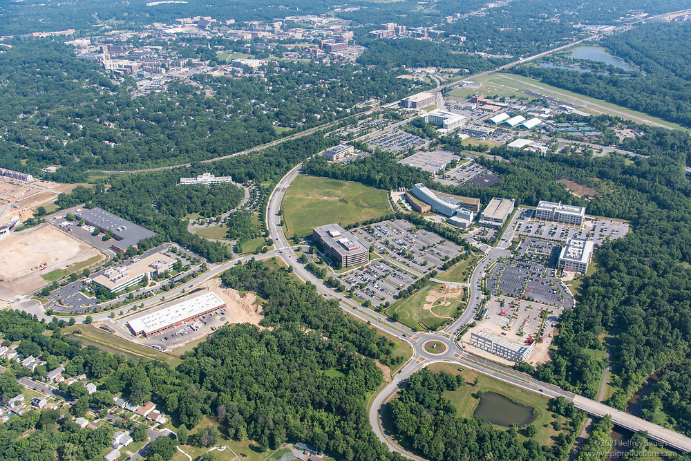 Aerial photo of Discovery District at College Park Maryland by Jeffrey Sauers of Commercial Photographics, Architectural Photo Artistry in Washington DC, Virginia to Florida and PA to New England