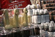 Chocolate willies are on sale on one of the exhibitors' stands at the Erotica 2006 show in London, UK, on Friday, Nov. 17, 2006. Erotica is the world's largest adult lifestyle show. It attracts about 80,000 visitors every year with its over 150 retailer exhibitors, dazzling and decadent transvestite cabaret shows, fun foreplay seminars, beautiful lingerie collections, art and fetish demonstrations. **Italy Out**
