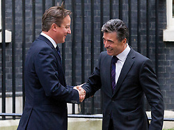 © Licensed to London News Pictures. 18/09/2013. London, UK. The British Prime Minister David Cameron meet with the NATO Secretary General Anders Fogh Rasmussen on Downing Street in London today (18/09/2013). Photo credit: Matt Cetti-Roberts/LNP
