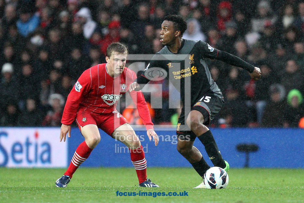 Picture by Daniel Chesterton/Focus Images Ltd +44 7966 018899.16/03/2013.Luke Shaw of Southampton and Daniel Sturridge of Liverpool in action during the Barclays Premier League match at the St Mary's Stadium, Southampton.