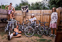 Andy Gregg, Chris Huggins, Rich Vossler, Dave Ostrand, and Dave Fisher with our bike collection at our house in Boulder, CO, 1990