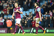 Aston Villa defender John Terry (26) celebrates with Aston Villa midfielder (on loan from West Ham United) Robert Snodgrass (7) at the end of the EFL Sky Bet Championship match between Aston Villa and Wolverhampton Wanderers at Villa Park, Birmingham, England on 10 March 2018. Picture by Dennis Goodwin.