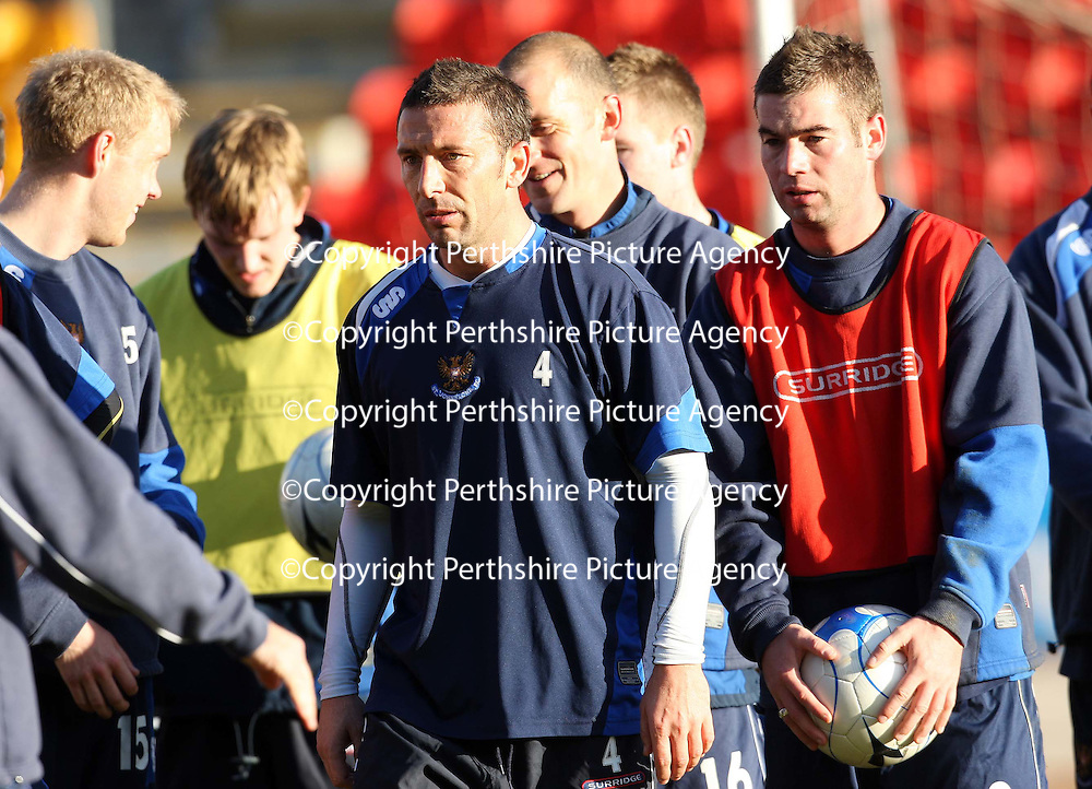 St Johnstone training...23.11.07<br /> Derek McInnes and Peter MacDonald in training ahead of Sunday's Challenge Cup Final against Dunfermline.<br /> Picture by Graeme Hart.<br /> Copyright Perthshire Picture Agency<br /> Tel: 01738 623350  Mobile: 07990 594431