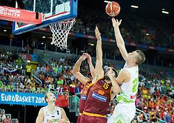 Predrag Samardziski of Macedonia vs Alen Omic of Slovenia during basketball match between Slovenia and Macedonia at Day 6 in Group C of FIBA Europe Eurobasket 2015, on September 10, 2015, in Arena Zagreb, Croatia. Photo by Vid Ponikvar / Sportida