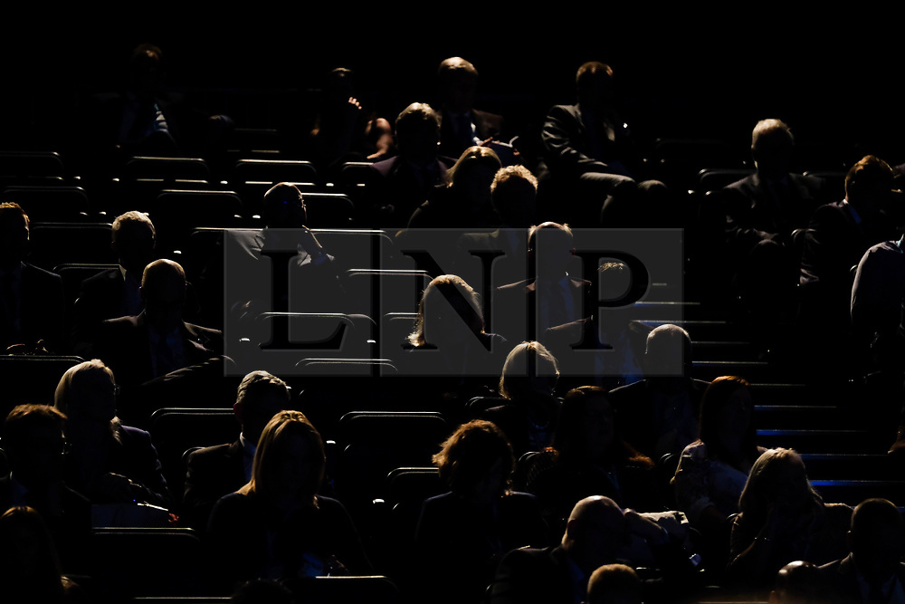(c) Licensed to London News Pictures. <br /> 02/10/2017<br /> Manchester, UK<br /> <br /> Party delegates listen to speeches at the Conservative Party Conference held at the Manchester Central Convention Complex.<br /> <br /> Photo Credit: Ian Forsyth/LNP