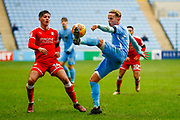 Coventry City forward Jordan Maguire-Drew (17), on loan from Brighton & Hove Albion,  gets the ball under control  during the EFL Sky Bet League 2 match between Coventry City and Swindon Town at the Ricoh Arena, Coventry, England on 20 January 2018. Photo by Simon Davies.