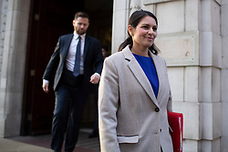 © Licensed to London News Pictures. 13/01/2020. London, UK. Home Secretary Priti Patel departs Millbank after appearing on BBC Radio 5 live. Photo credit: George Cracknell Wright/LNP