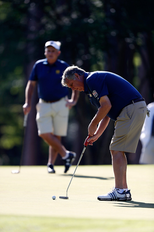 Paul Johnson putts during the Chick-fil-A Peach Bowl Challenge at the Oconee Golf Course at Reynolds Plantation, Sunday, May 1, 2018, in Greensboro, Georgia. (Paul Abell via Abell Images for Chick-fil-A Peach Bowl Challenge)