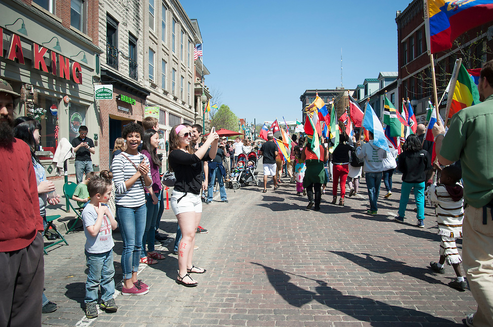 The International Street Fair takes places annuaully in Uptown Athens, Ohio. The parade is a main attraction of the event in addition to performances, music, good food, and activities signicant to unique cultures all around the world. Photo by Olivia Wallace