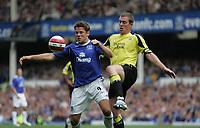 Photo: Andi Thompson.<br />Everton v Manchester City. The Barclays Premiership. 30/09/2006.<br />Manchester City's Richard Dunne (R) challenges Everton's James Beattie (L)