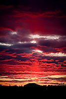JEROME A. POLLOS/Press..The sun sets through the trees and below the horizon Tuesday in Post Falls creating a warm cast of color on the sky at 5:33 p.m. The clouds turned to hues of purple and red 11 minutes later when the sun was totally lost below the horizon at 5:44 p.m.
