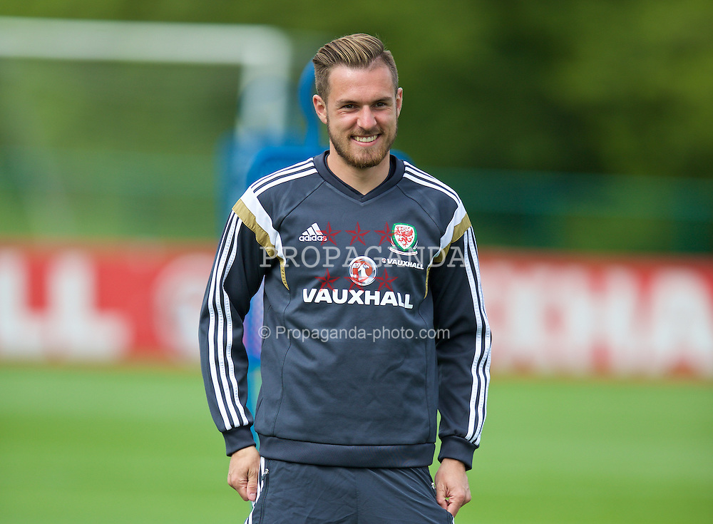 CARDIFF, WALES - Monday, June 8, 2015: Wales' Aaron Ramsey during a training session at the Vale of Glamorgan ahead of the UEFA Euro 2016 Qualifying Round Group B match against Belgium. (Pic by David Rawcliffe/Propaganda)