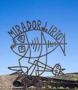 Metal sculpture sign for Mirador del Rio designed by Cesar Manrique, Lanzarote, Canary Islands, Spain