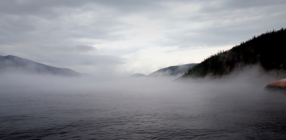 St. Lawrence, nws, lynn, 33.-A low layer of fog sits on top of the St. Lawrence River at Tadoussac, Quebec Canada.  At this point the river is a mixture of salt and fresh water.