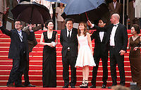 Moon Sori, Hong Sangsoo,  Isabelle Huppert, Yu Junsang, Youn Yuh-jung,  arriving  on the red steps at the DA-REUN NA-RA-E-SUH (IN ANOTHER COUNTRY)  gala screening at the 65th Cannes Film Festival France. Monday 21st May 2012 in Cannes Film Festival, France.