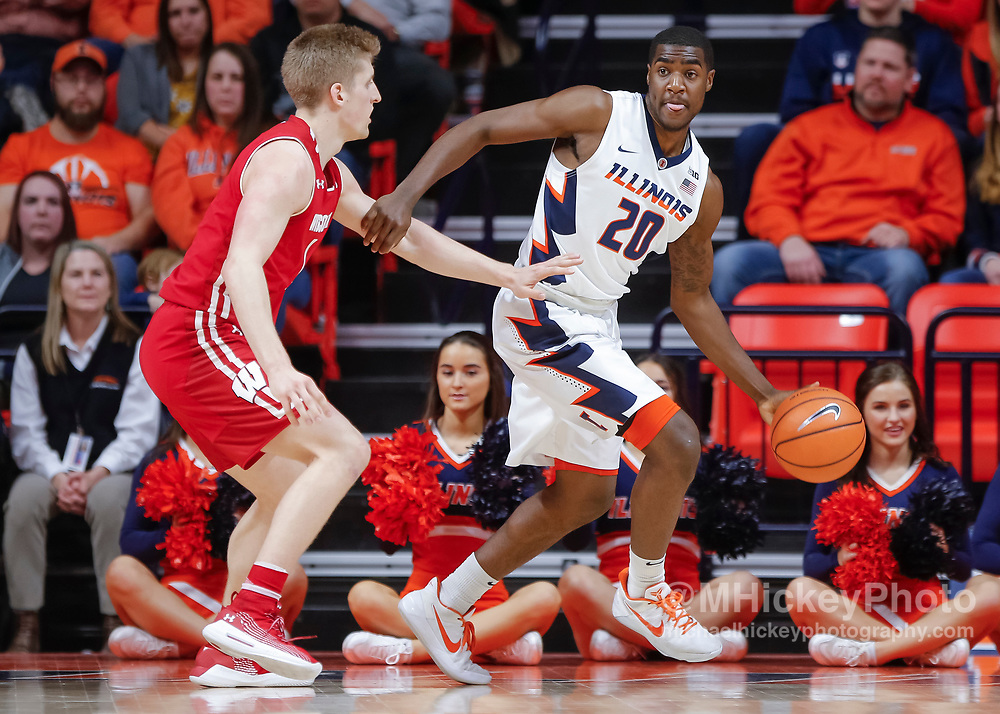 CHAMPAIGN, IL - FEBRUARY 08: Da'Monte Williams #20 of the Illinois Fighting Illini dribbles the ball against the Wisconsin Badgers at State Farm Center on February 8, 2018 in Champaign, Illinois. (Photo by Michael Hickey/Getty Images) *** Local Caption *** Da'Monte Williams