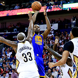 Oct 28, 2016; New Orleans, LA, USA;  Golden State Warriors forward Kevin Durant (35) shoots over New Orleans Pelicans forward Dante Cunningham (33) and guard Lance Stephenson (5) during the second quarter of a game at the Smoothie King Center. Mandatory Credit: Derick E. Hingle-USA TODAY Sports