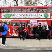 Simon Gross and Francine Lewis launch their new entertainment chat show, On The Move. Takes place beside Scotland Yard, on board the BB Bakery bus on 22 March 2019, London, UK.
