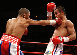June 13, 2009; New York, NY, USA;  WBO Jr. Flyweight Champion Ivan Calderon and challenger Rodel Mayol trade punches during their 12 round bout at Madison Square Garden. The fight ended in a draw after a clash of heads caused the fight to be stopped in the fifth round.