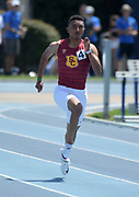 Alexander Barnum of Southern California wins the 200m in 20.90 during a collegiate dual meet against UCLA at Drake Stadium in Los Angeles, Sunday, April 29, 2018.