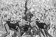 1974 Stanford v USC played at Stanford Stadium.  Stanford quarterback Guy Benjamin #10 takes the snap from center Rudy Bergthold.