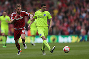 Brighton winger, Jamie Murphy (15) and Middlesbrough FC midfielder Adam Clayton during the Sky Bet Championship match between Middlesbrough and Brighton and Hove Albion at the Riverside Stadium, Middlesbrough, England on 7 May 2016.