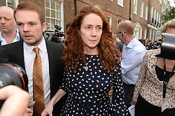 Image ©Licensed to i-Images Picture Agency. 26/06/2014. London, United Kingdom. Rebekah Brooks giving a statement on Phone hacking verdict outside her house in London. Picture by Andrew Parsons / i-Images
