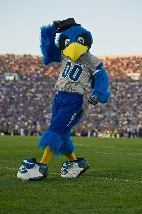The Air Force Falcon mascot shows his dance moves.