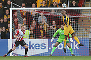 Delano Sam-Yorke scores the opening goal for Maidstone and celebrates during the The FA Cup match between Cheltenham Town and Maidstone United at Whaddon Road, Cheltenham, England on 4 November 2017. Photo by Antony Thompson.